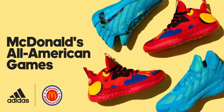 adidas攜手麥當勞高中全明星賽推出聯名籃球鞋款,將麥當勞高中全明星賽鮮明形象,巧妙融入adidas籃球鞋款Harden Vol.5及Dame 7中。官方提供