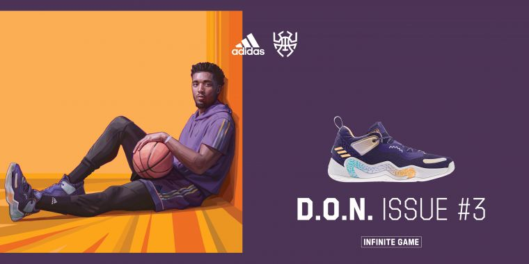 adidas攜手Donovan Mitchell推出第三代簽名戰靴,經典紫色注入D.O.N. Issue#3,向猶他爵士隊及Mitchell生長的紐約市致敬。官方提供