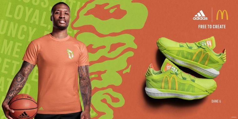 adidas與拓荒者當家球星Damian Lillard一同攜手麥當勞打造跨界聯名巨作,推出Dame 6全新限定配色「Sauce」。大會提供