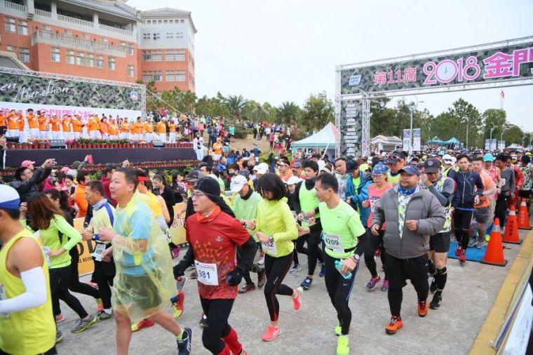 金門馬拉松也是台灣最搶手的馬拉松賽之一。資料照片