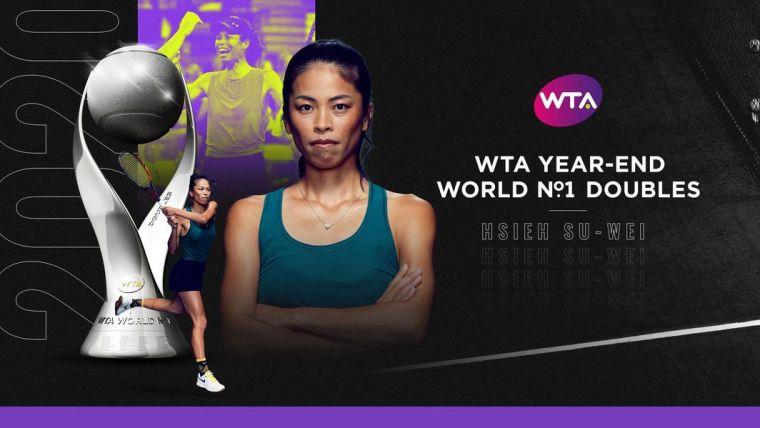 謝淑薇首度奪下年終世界雙打球后。摘自WTA官網