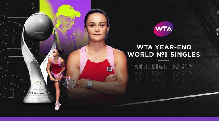芭蒂連續兩年奪下世界年終單打球后。摘自WTA官網