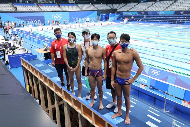 中華隊東奧泳將終於到比賽用池備戰。李天助攝