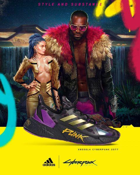 adidas X9000 L4 x Cyberpunk 2077 主打款紫金配色以《Cyberpunk 2077》「夜城」內誘惑奢糜、揮金如土的風格為靈感,象徵刺激的Cyberpunk遊戲旅程即將啟動。官方提供