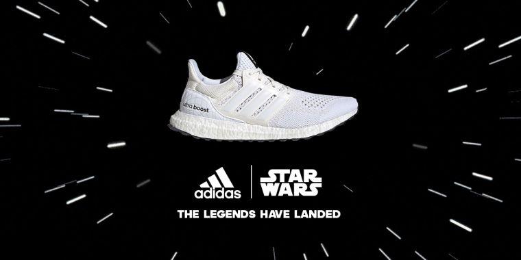 adidas Ultraboost DNA Star Wars 莉亞公主鞋款以全白色系貫穿Primeknit針織鞋面與BOOST中底,象徵莉亞公主一襲浪漫的白袍。官方提供