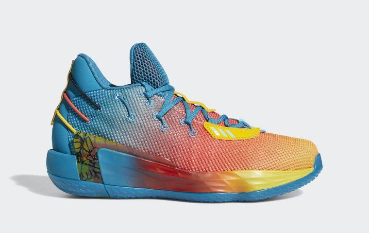 adidas Dame 7 Avatar限定鞋款以水藍色貫穿鞋身與鞋底,鞋頭則以漸層紅、橘、黃覆蓋網眼鞋身,創造亮眼對比。官方提供