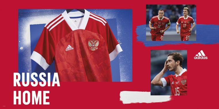 adidas亮相俄羅斯隊設計主場球衣,大面積的紅色象徵藝術與運動的相遇,更代表俄羅斯人民與足球的碰撞。官方提供
