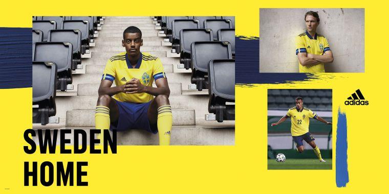adidas推出瑞典隊主場球衣,以瑞典國旗為設計靈感,選擇活力黃搭配藍色袖口,後領下方繡有瑞典語中「瑞典」之意的SVERIGE字樣。官方提供