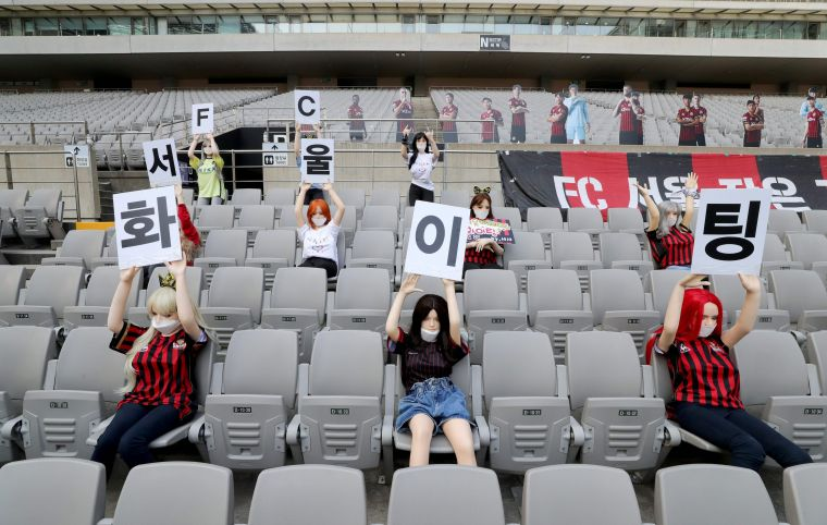 FC首爾主場用情趣娃娃充當觀眾引發極大爭議。法新社