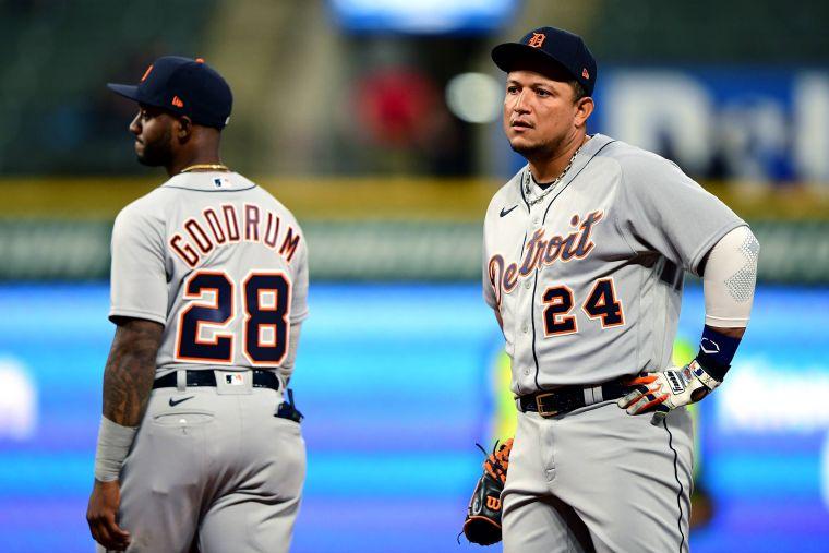 底特律老虎當家主砲卡布雷拉(Miguel Cabrera,右)進傷兵名單。法新社
