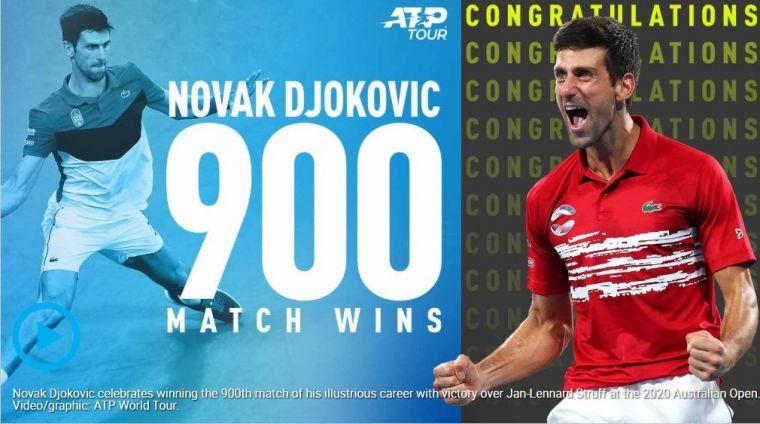 喬科維奇達成生涯第900勝,但也有讓人擔心的一面。摘自ATP官網