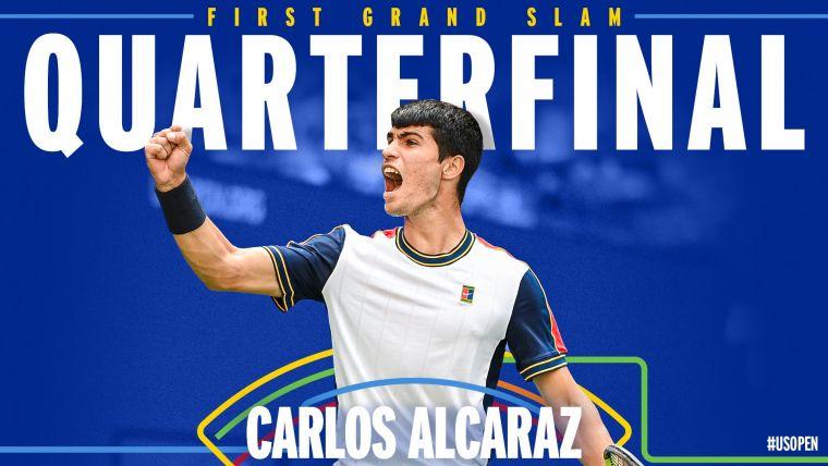 艾卡拉茲成為美網史上晉級男單8強最輕球員。摘自美網推特