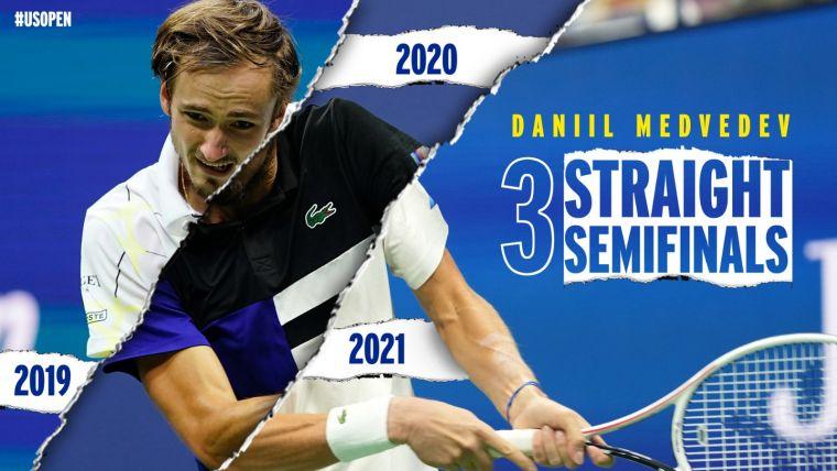 俄羅斯一哥梅德韋傑夫連續三年打進美網男單4強。摘自美網推特