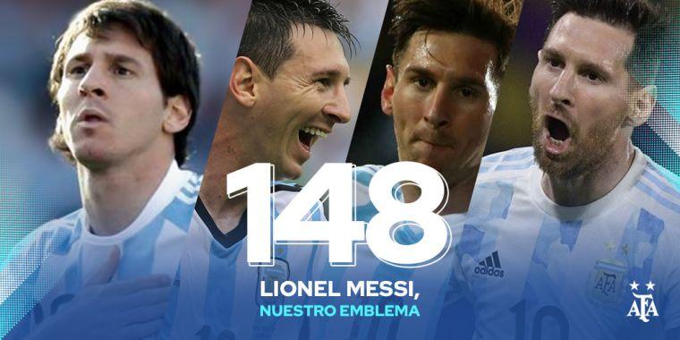 梅西成阿根廷史上最多出賽場次球員。摘自巴塞隆納推特