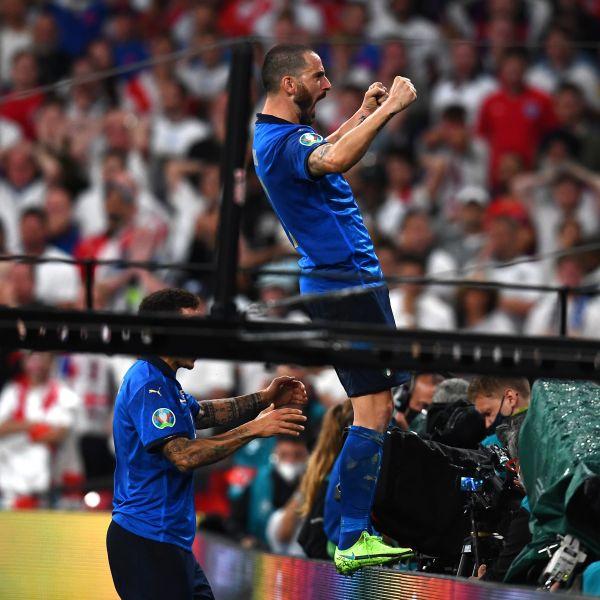 博努奇(Leonardo Bonucci)成歐國盃決賽進球最老進球員。摘自官方推特