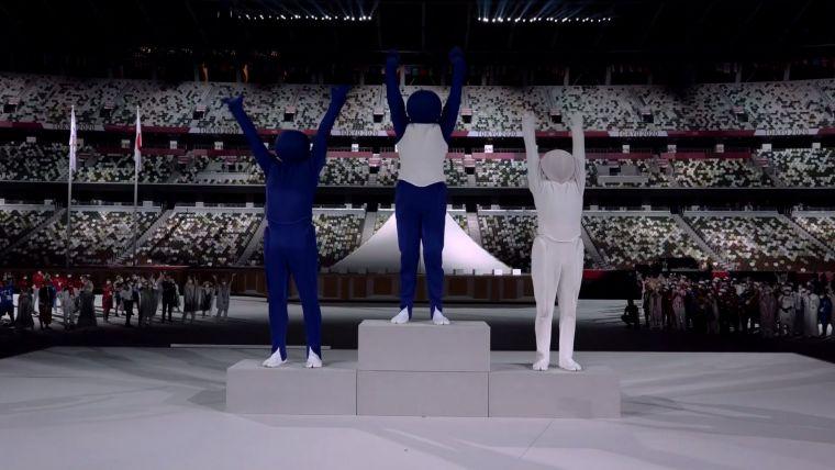 演員表演奧運圖標相當逗趣。摘自官方推特