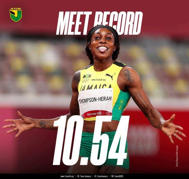 湯普森跑出女子100公尺史上第二快紀錄。摘自湯普森推特