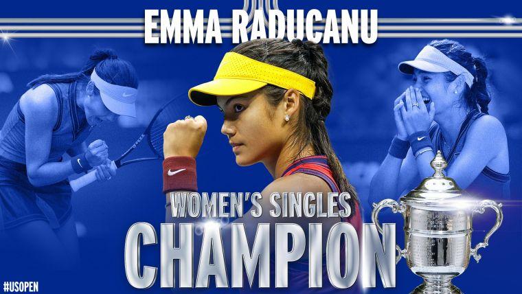 拉杜卡努奪下生涯首個大滿貫冠軍。摘自美網推特