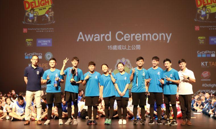 台灣最後獲得全場總季軍。臺灣專業花式跳繩學院提供