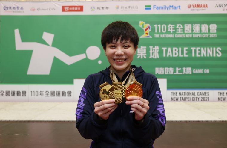 「台灣一姐」鄭怡靜摘下全運女單金牌。大會提供