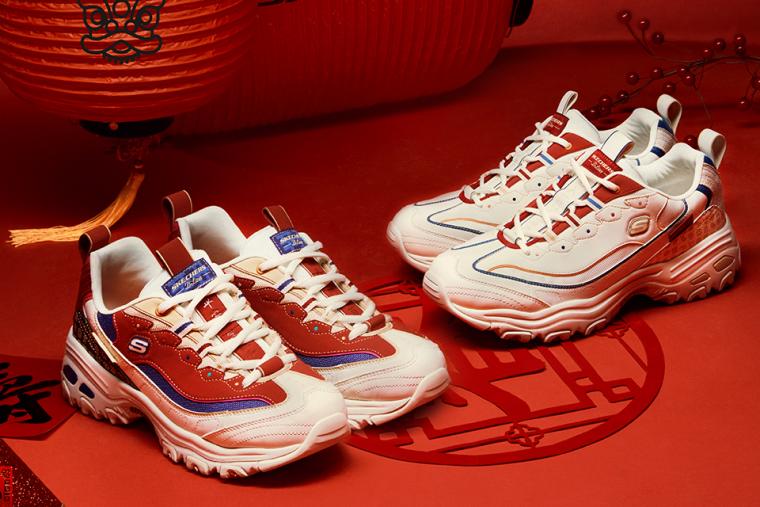 SKECHERS 2021年新春限定D'LITES老爹鞋,有書卷紅、霜降白兩色。官方提供
