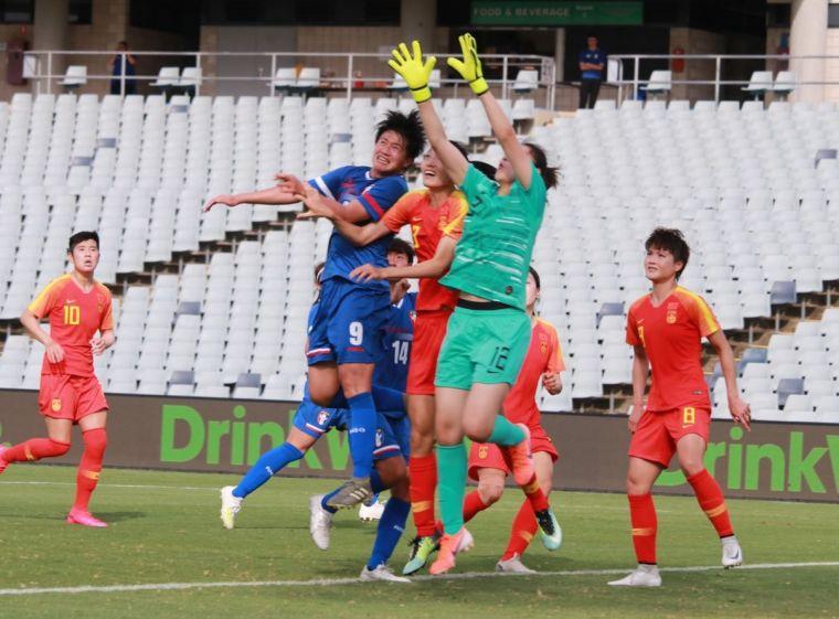中華女足開賽5分鐘就先丟球。中華足協提供