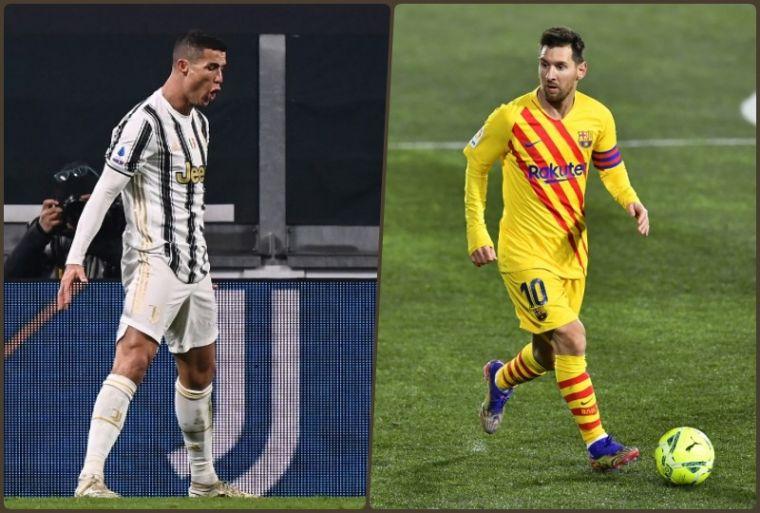 迎按2021年的首場比賽,C羅(左)和梅西(右)都有寫紀錄的精彩演出。(法新社)