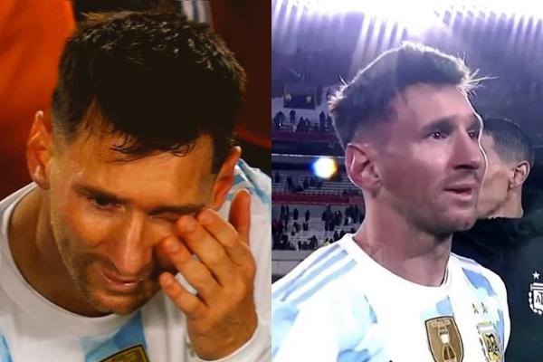梅西開心到偷偷掉淚。摘自阿根廷推特