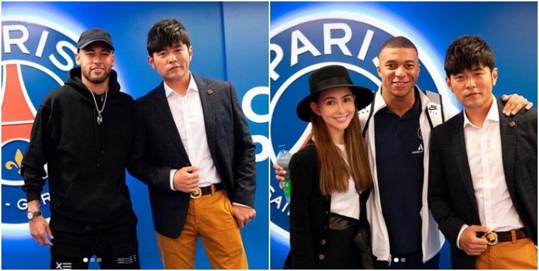 周橙倫與巴黎聖日耳曼兩大球星內馬爾、姆巴佩合照。摘自周杰倫IG