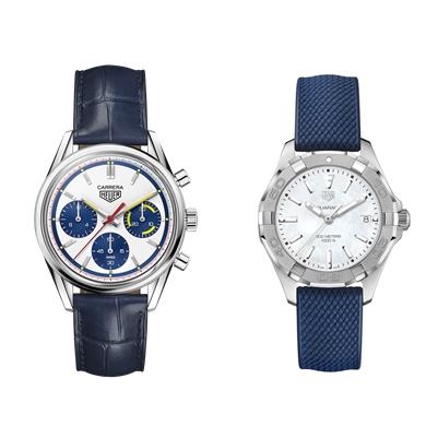 大坂直美2021澳網總決賽配戴Aquaracer 女錶(右);大坂直美於2021澳網頒獎典禮配戴Carrera Montreal 腕錶。官方提供