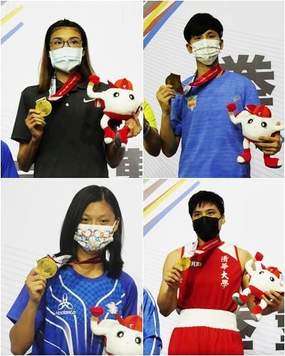 台灣東奧女子拳擊選手黃筱雯(左上)、林郁婷(右上)、吳詩儀(左下)和陳念琴都順利摘金。詹健全攝