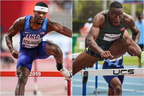 美國跨欄雙傑班傑明(左)和哈樂威都有機會在東京奧運破世界紀錄的可能。合成照片