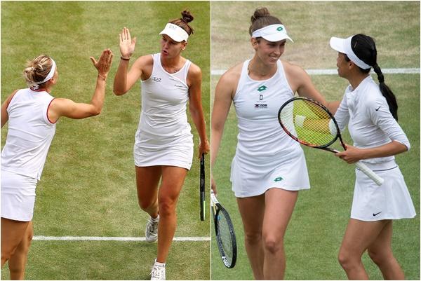 謝淑薇(右)今晚將與俄羅斯組合爭取二連霸。摘自WTA推特