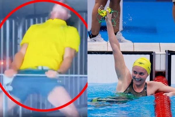 蒂特穆絲奪金,她教練在場邊反成焦點。合成照片