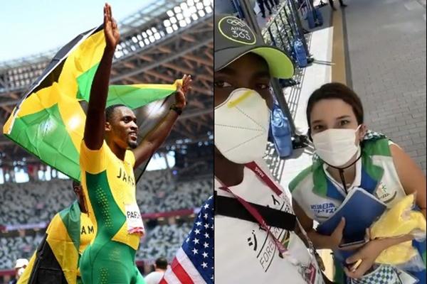 東奧女志工協助帕克門特拿下金牌。合成照片