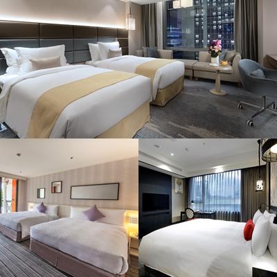 板橋凱撒大飯店(上)、台北凱旋酒店(右下)和台南趣淘漫旅都將提供教練和選手居住。奧會提供