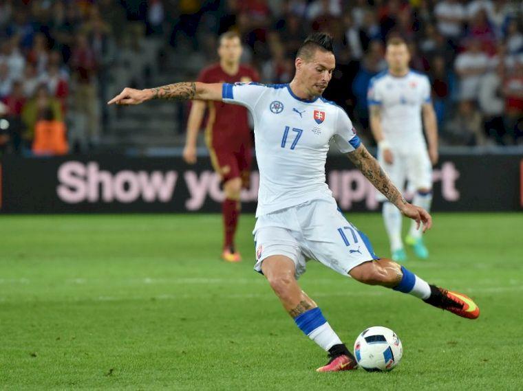漢西克一傳一射,助斯洛伐克險勝俄羅斯。(AFP)