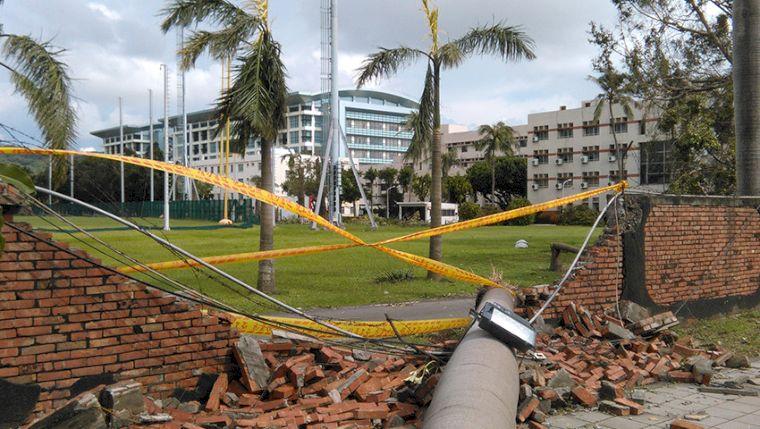 國訓圍牆崩塌。圖/翻攝自國訓中心網站